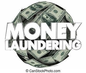 bola, dinheiro lavando, ilegal, dinheiro, ilustração, renda...