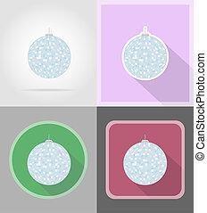 bola disco, para, celebração, apartamento, ícones, ilustração