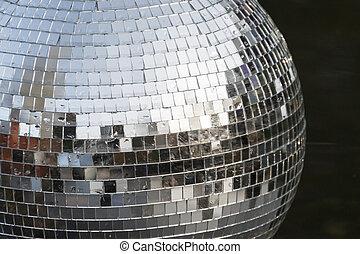 bola disco, prata, espelho