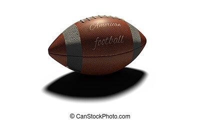 bola, elencos, futebol, isolado, americano, fundo, sombra, branca