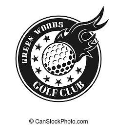 bola, emblema, fogo, vindima, vetorial, golfe, redondo