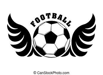 bola, emblema, futebol, asas, desenho, logotipo, branca, ou, pretas
