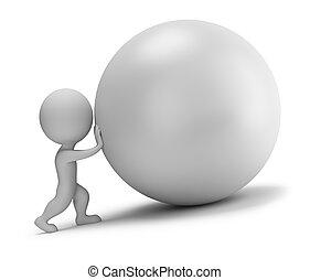 bola, empurrões, pessoas, -, pequeno, 3d