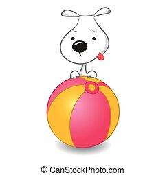 bola, engraçado, sentando, cão