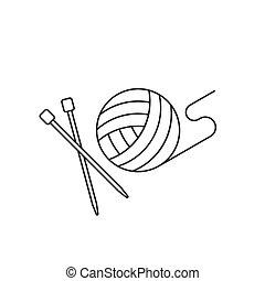 bola, esboço, agulha, fio, crochet, ícone