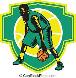 bola, escudo, woodcut, driblar, jogador, basquetebol, retro