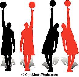 bola, estendido, cima, basquetebol, silueta, jogadores, cobrança, um, dedo, fundo, segurando, pretas, branca, mão, vermelho