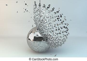 bola, explodindo, discoteca