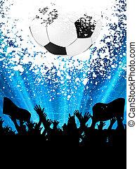 bola, fans., eps, silhuetas, 8, futebol