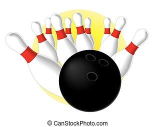 bola fazendo rolar, bater, alfinetes