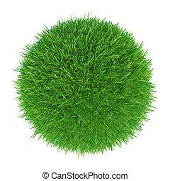 bola, fazendo, verde branco, capim, 3d