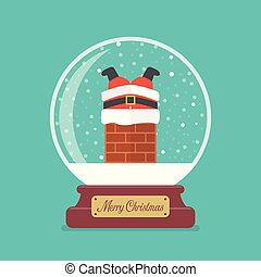 bola, feliz, vidro, claus, aderido, santa, natal, chaminé