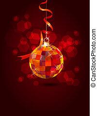 bola, festivo, espelho, experiência escura, penduradas
