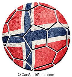 bola, flag., nacional, futebol, futebol, noruega, ball.