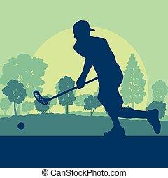 bola, floorball, parque, árvores, jogador, vetorial, pôr do sol, hóquei, frente, vara
