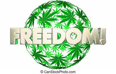 bola, folha, liberdade, marijuana, liberdade, esfera, ilustração, 3d