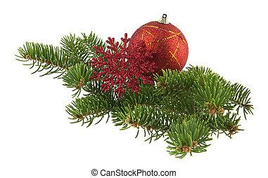 bola, fundo, árvore, isolado, snowflake, ramo, christmas branco, vermelho