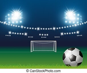 bola, fundo, ilustração, vetorial, estádio, futebol, holofote, meta