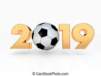 bola, futebol, 2019, render, 3d