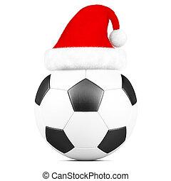 bola futebol, chapéu, isolado, santa