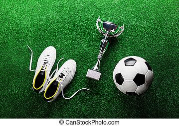 bola futebol, chuteiras, e, troféu, contra, verde, turf...