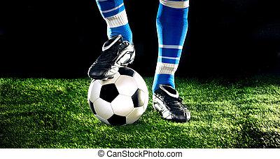 bola futebol, com, pés