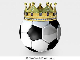 bola futebol, coroa, render, 3d