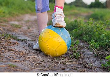 bola futebol, criança