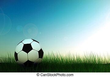 bola futebol, em, capim