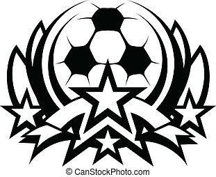 bola, futebol, gráfico, vetorial, modelo