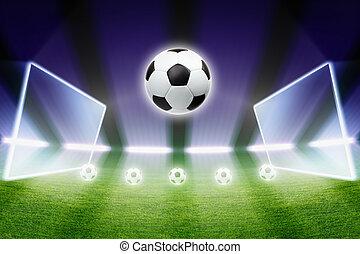 bola futebol, holofotes, estádio