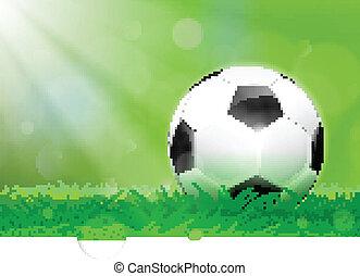 bola futebol, ligado, a, passo