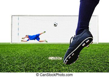 bola futebol, meta, penalidade, pé, tiroteio