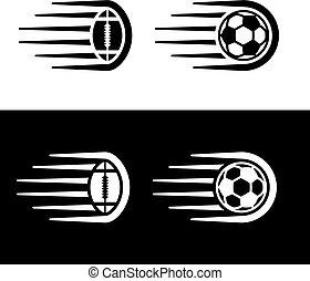 bola, futebol, movimento, americano, linha, futebol