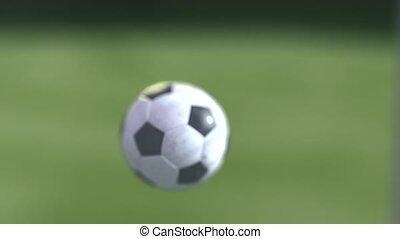 bola futebol, movimento lento, para, a, goal., esfera...