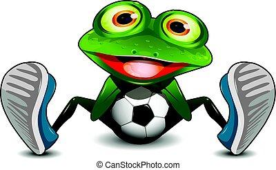 bola futebol, rã, sentando