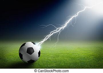 bola, futebol, relampago, holofote