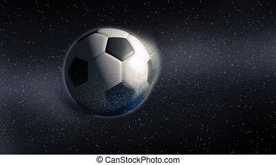 bola futebol, revelar, de, aproximar-se, terra planeta