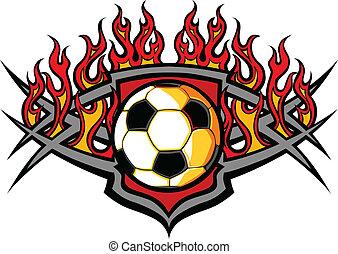 bola futebol, ve, chamas, modelo