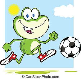 bola futebol, verde, tocando, rã
