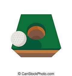 bola golfe, borda, de, buraco, caricatura, ícone