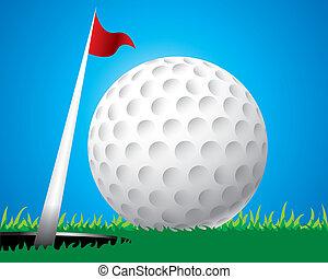 bola golfe, borda, de, buraco