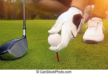 bola, golfe, colocar, tee, mão