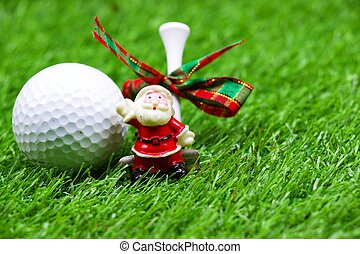 bola golfe, com, decoração natal, ligado, grama verde