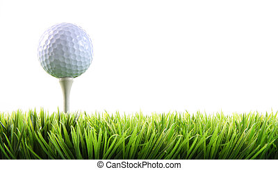 bola golfe, com, tee, em, a, capim
