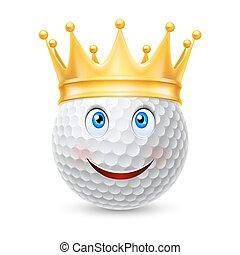 bola, golfe, coroa dourada