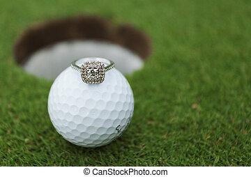 bola golfe, e, anel casamento