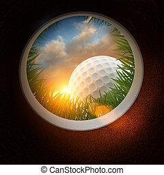 bola golfe, e, buraco