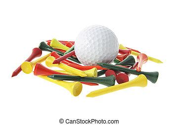 bola golfe, e, tees