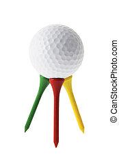 bola golfe, ligado, tees